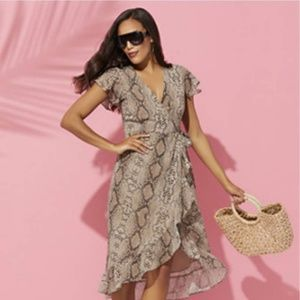 New York & Company Snake Print Ruffle Wrap Dress
